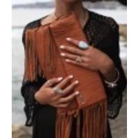 Tobacco Leather Clutch | Juliette | KiVARi Leather