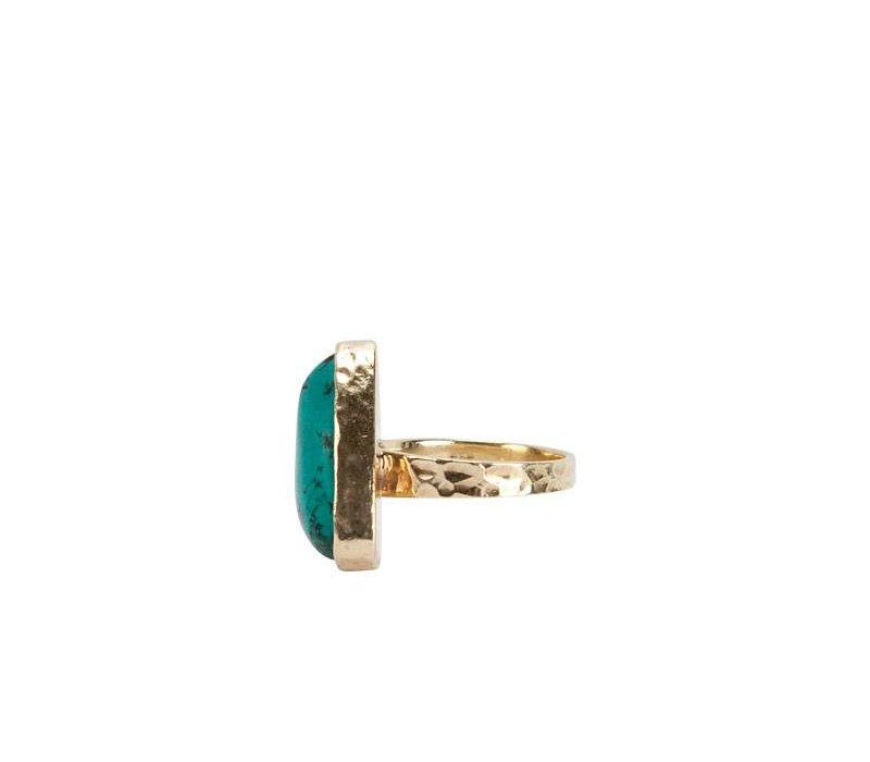 Gouden Ring met Grote Turquoise Driehoek