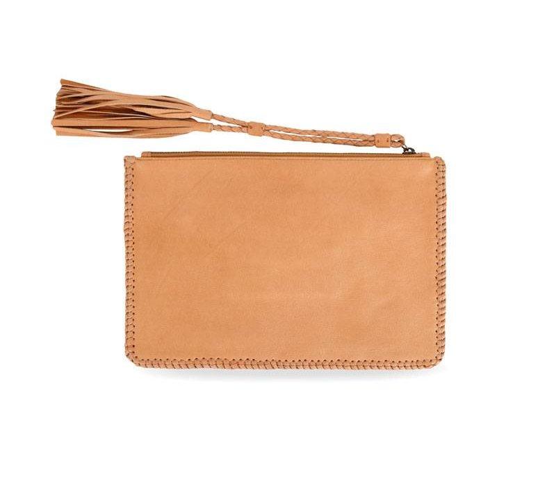 Tan Leather Clutch   Gypsy Eyes from KiVARi Leather