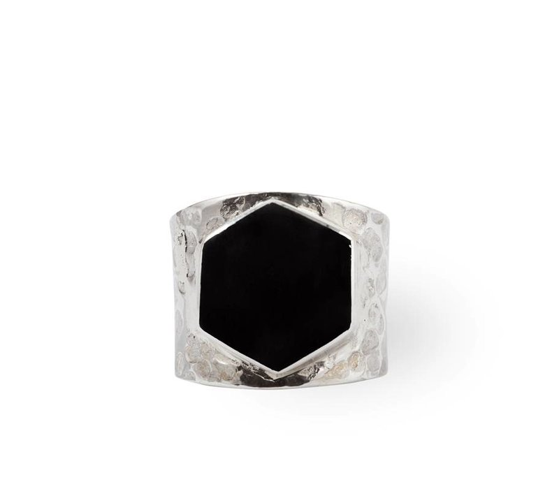 Sterling Silver Ring Lynx | Black Onyx