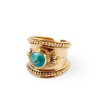 Verguld Zilver Turquoise Ring Bohème