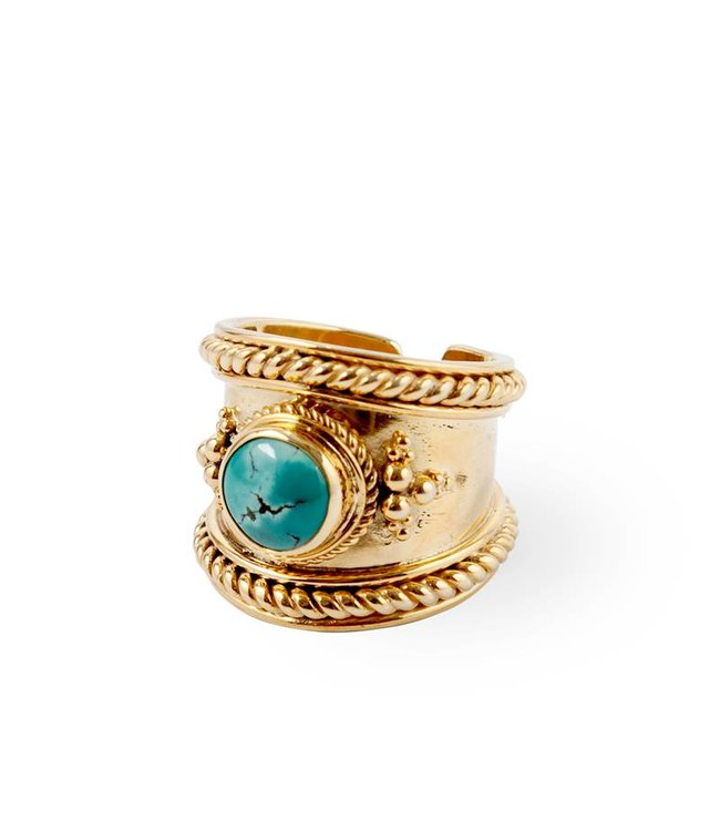 Route508 Verguld Gouden Turquoise Ring Bohème