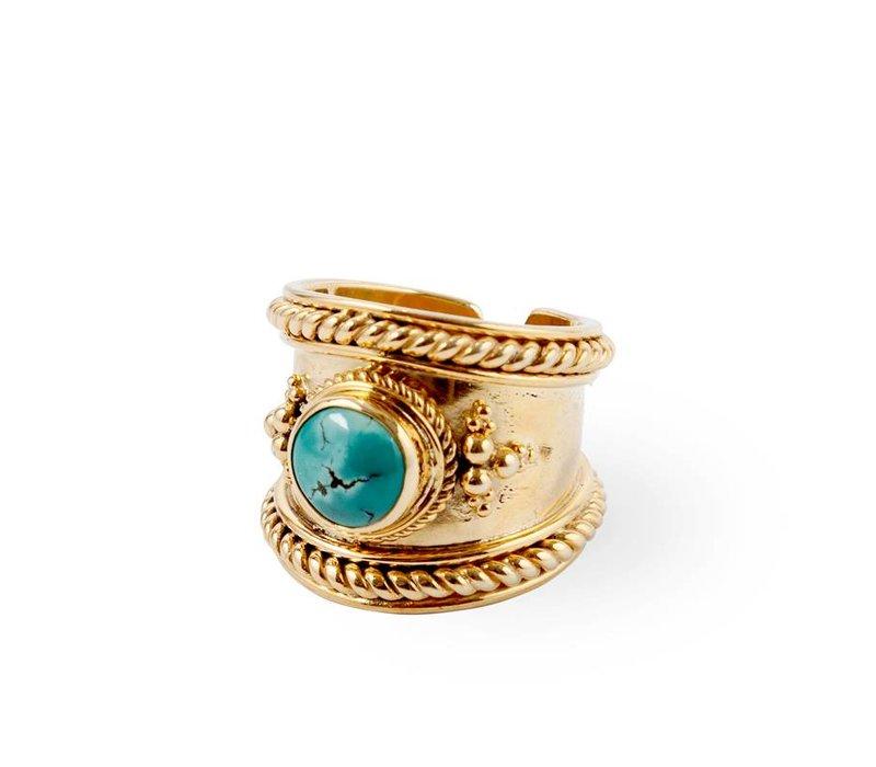 Gold Ring Bohème | Turquoise Gemstone