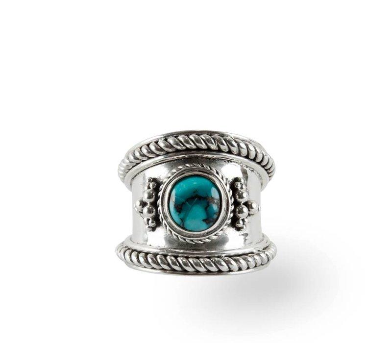 Sterling Zilveren Ring Bohème met Turquoise Edelsteen
