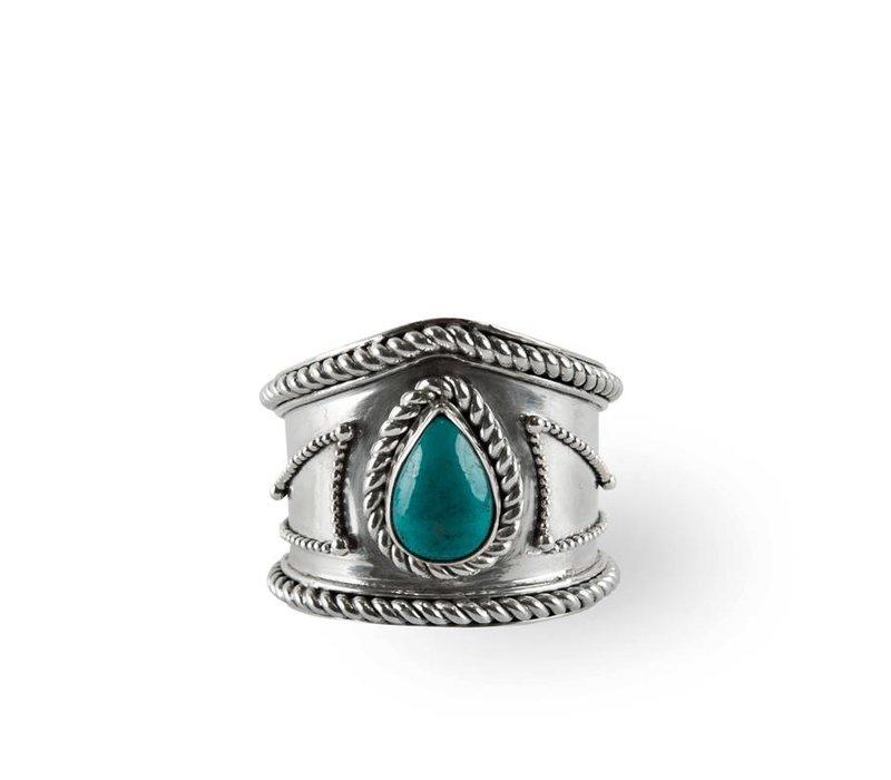 Sterling Zilveren Ring Amalia met Turquoise Edelsteen