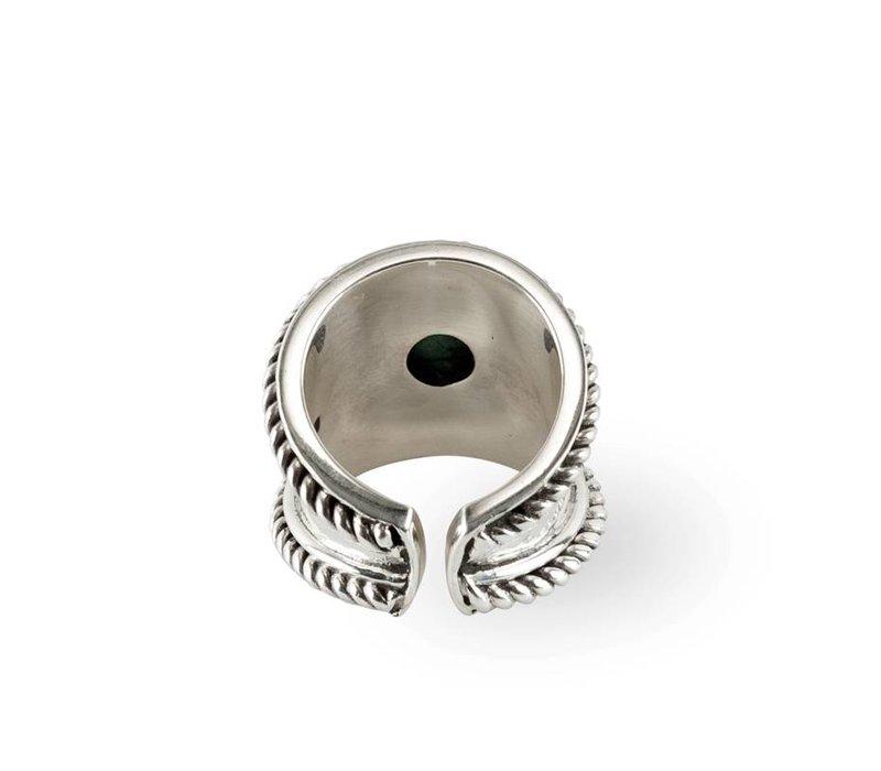 Zilveren Ring Bohème | Turquoise Rainbow Moonstone
