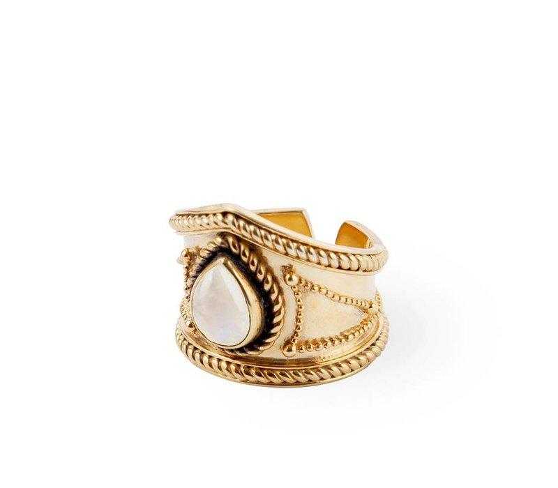 Verguld Zilveren Maansteen Ring Amalia | 18kt Goud