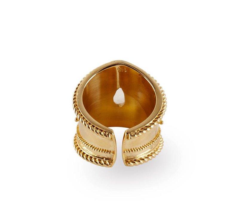 Gouden Ring Amalia | Rainbow Moonstone