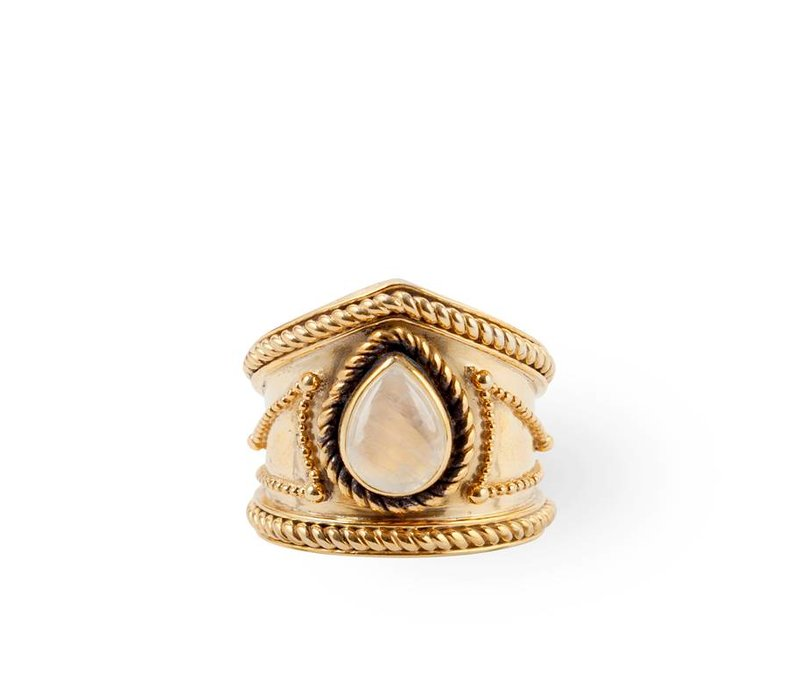Gold Vermeil Ring Amalia | Rainbow Moonstone