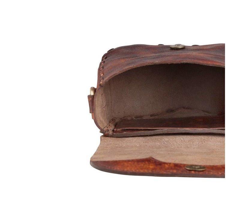 Leren Crossbody Tas Indie  ǀ Vintage Donker Bruin