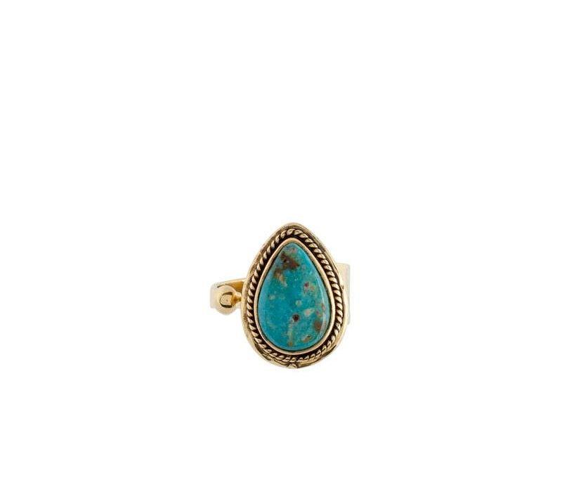 Boho Turquoise Ring Ruby | Gold