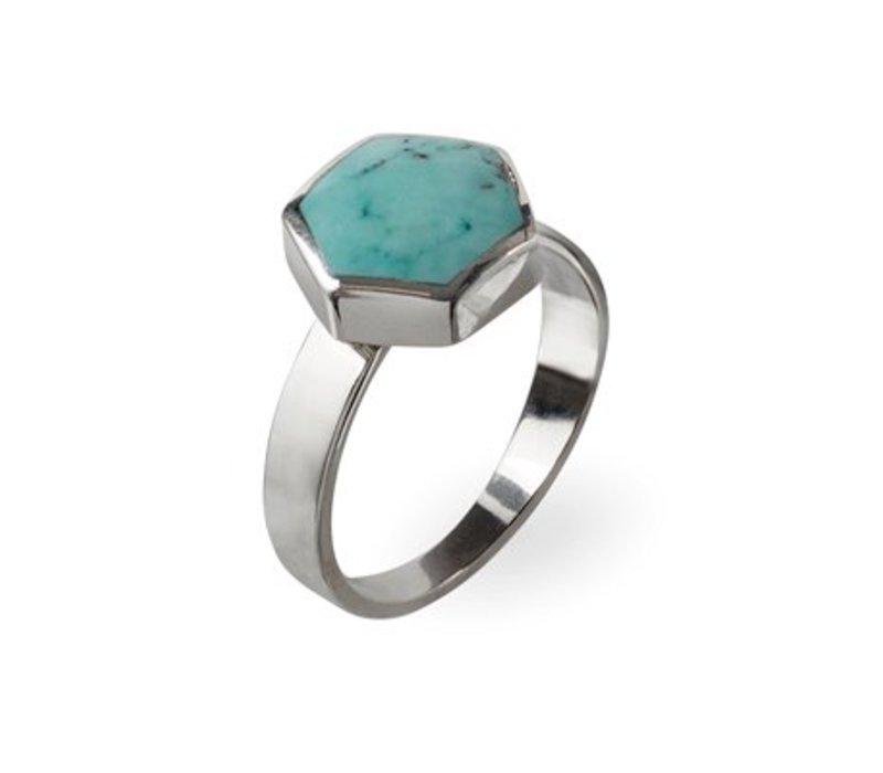 Toffe Zilveren Ring | Turquoise Zeshoek Edelsteen