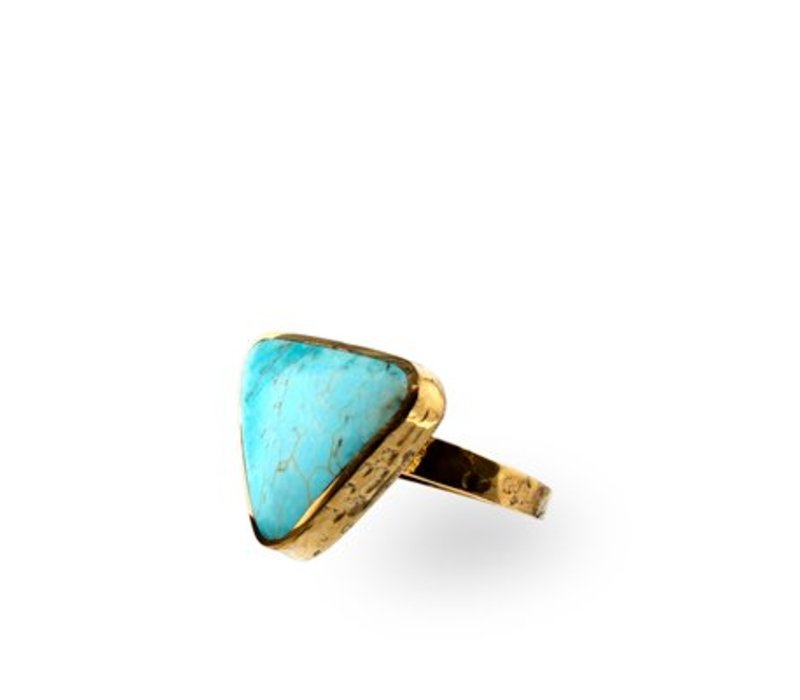 Turquoise Triangle Gold Ring Route508