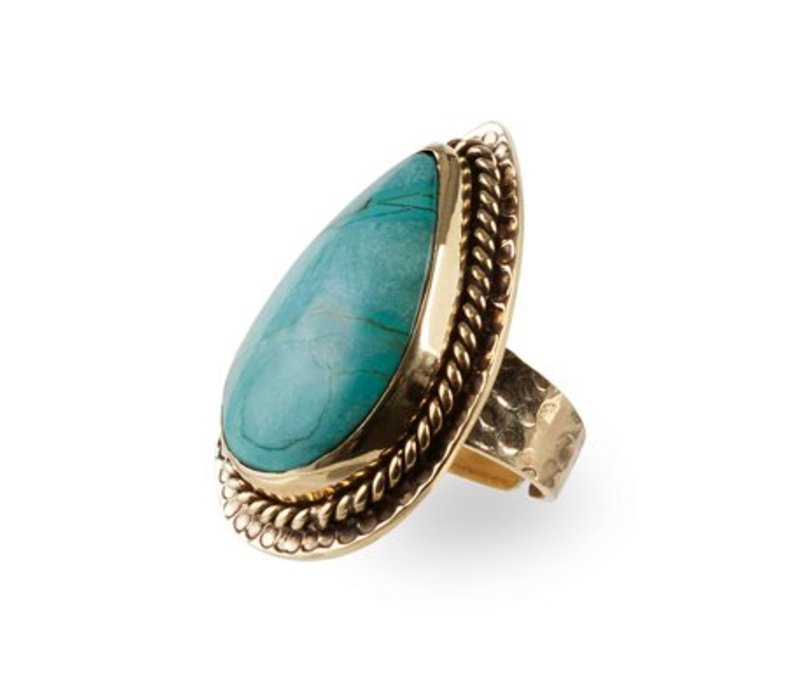Bohemian Gouden Statement Ring | Turquoise