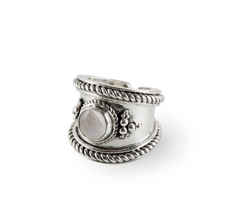 925 Sterling Zilveren Ring Bohème met Maansteen Edelsteen