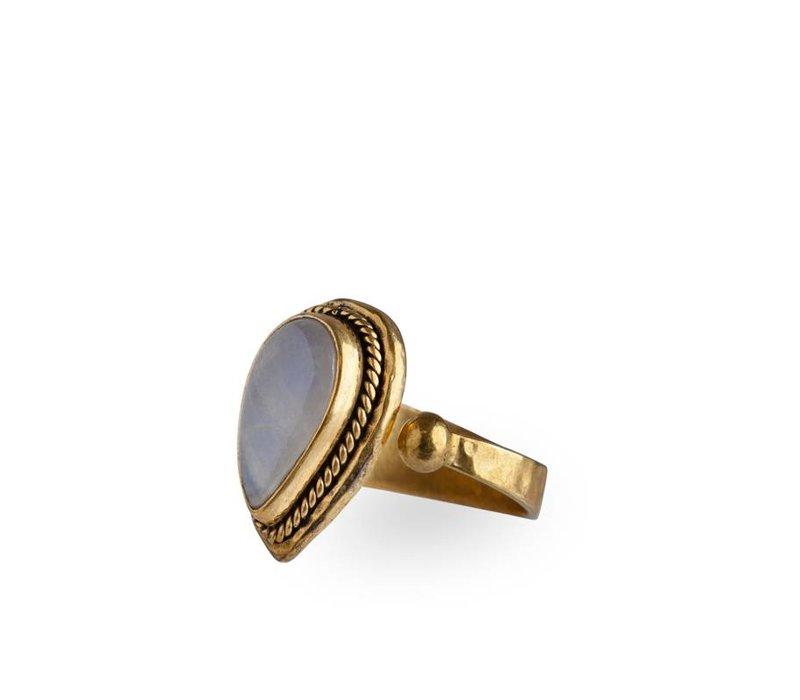 Stijlvolle Gouden Ring  Rainbow Moonstone