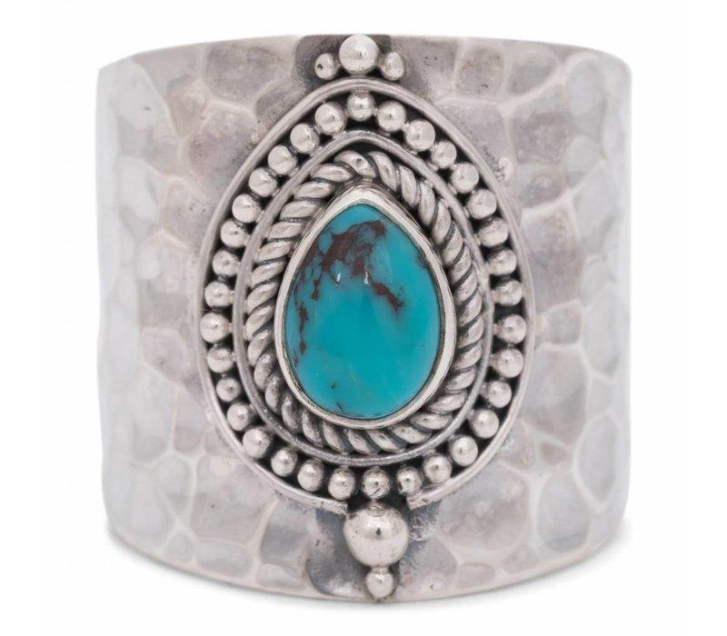 Sterling Zilveren Ring Sheila met Turquoise Edelsteen
