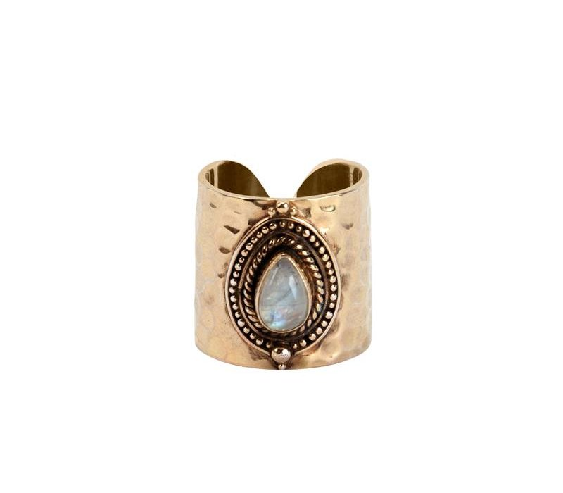 Gold Ring Ruby | Rainbow Moonstone - Copy