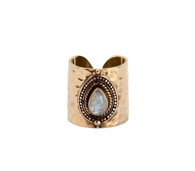 Gouden Maansteen Ring  Sheila