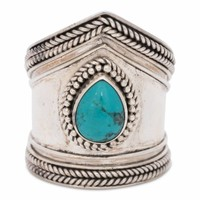 Sterling Silver Ring Elvira with Turquoise Gemstone