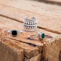925 Sterling Zilveren Ring Isabeau met Zwarte Onyx Edelsteen