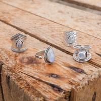 Silver Ring Ruby | Rainbow Moonstone