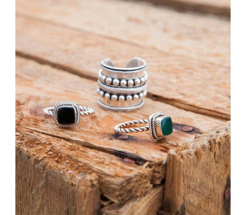 925 Sterling Zilveren Ring Isabeau met Groene Onyx Edelsteen