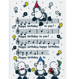 Sheepworld Sheep birthday card - Happy Birthday to you score