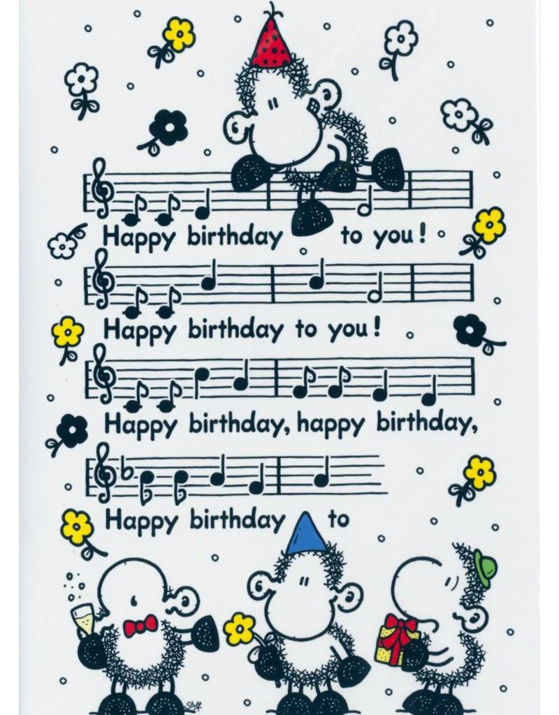 Sheepworld Sheep birthday card - Happy Birthday to you score