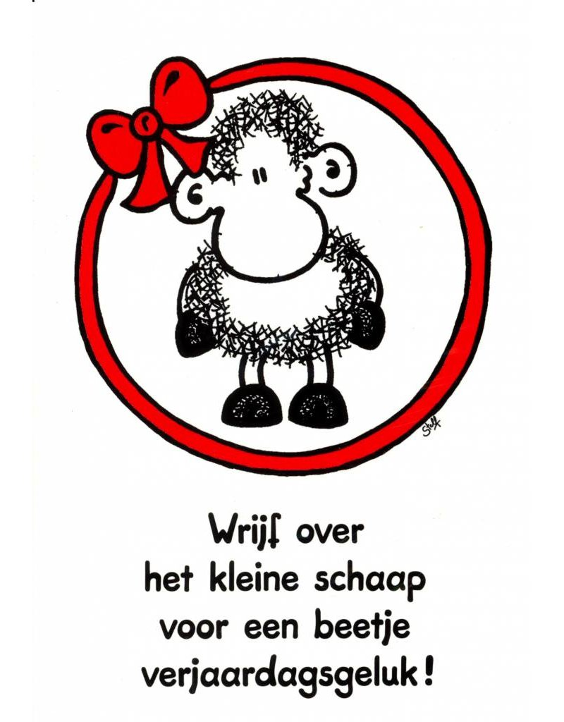Sheepworld Birthday card sheep - Rub the sheep for luck