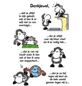 Sheepworld Schaap liefde en vriendschapskaart - Dank je wel!