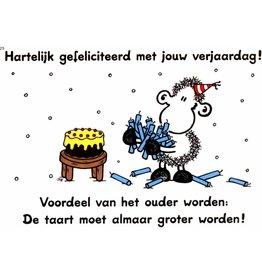 Sheepworld Schaap verjaardagskaart - De taart moet almaar groter worden!