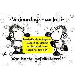 Sheepworld Schaap verjaardagskaart - Verjaardags-confetti