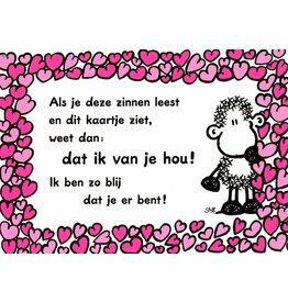 Sheepworld Schaap liefde en vriendschapskaart - Dat ik van je hou!