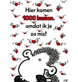 Sheepworld Schaap liefde en vriendschapskaart - 1000 kussen!