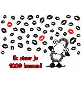 Sheepworld Schaap liefde en vriendschapskaart - Ik stuur je 1000 kussen!