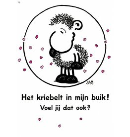 Sheepworld Schaap liefde en vriendschapskaart - Het kriebelt in mijn buik!
