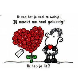 Sheepworld Schaap liefde en vriendschapskaart - Ik zeg het je veel te weinig...