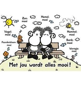 Sheepworld Schaap liefde en vriendschapskaart - Met jou wordt alles mooi!