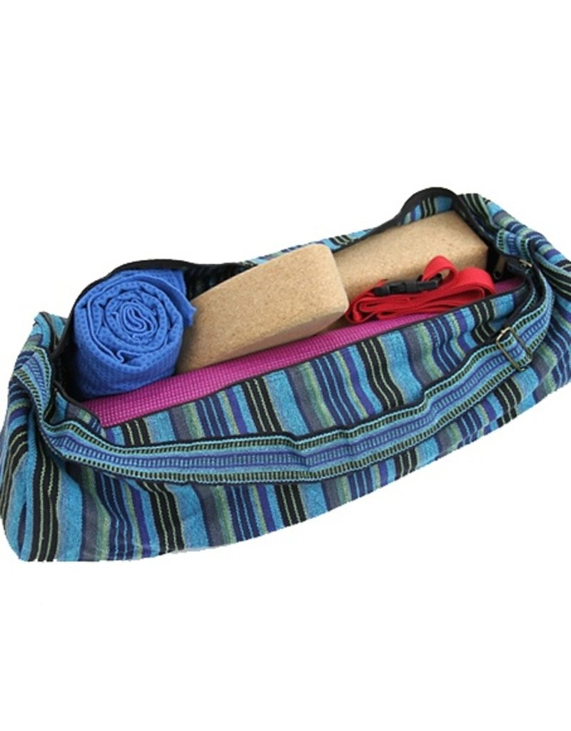 Yoga & Yogini Yogamat tas katoen blauw gestreept