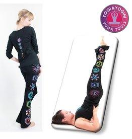 Yoga & Yogini Yoga handgeschilderde chakra broek katoen zwart