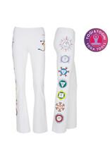 Yoga & Yogini Yoga handgeschilderde chakra broek katoen wit