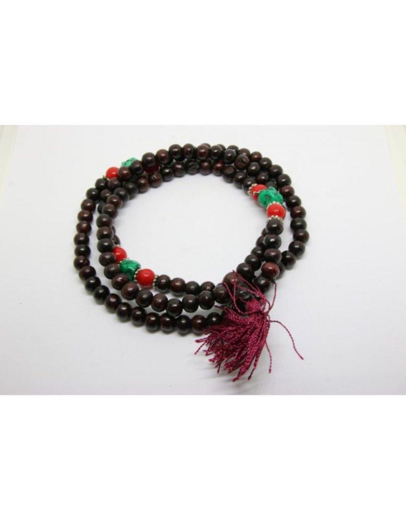 Mandisakura Mala hout met rode kralen en turquoise steen