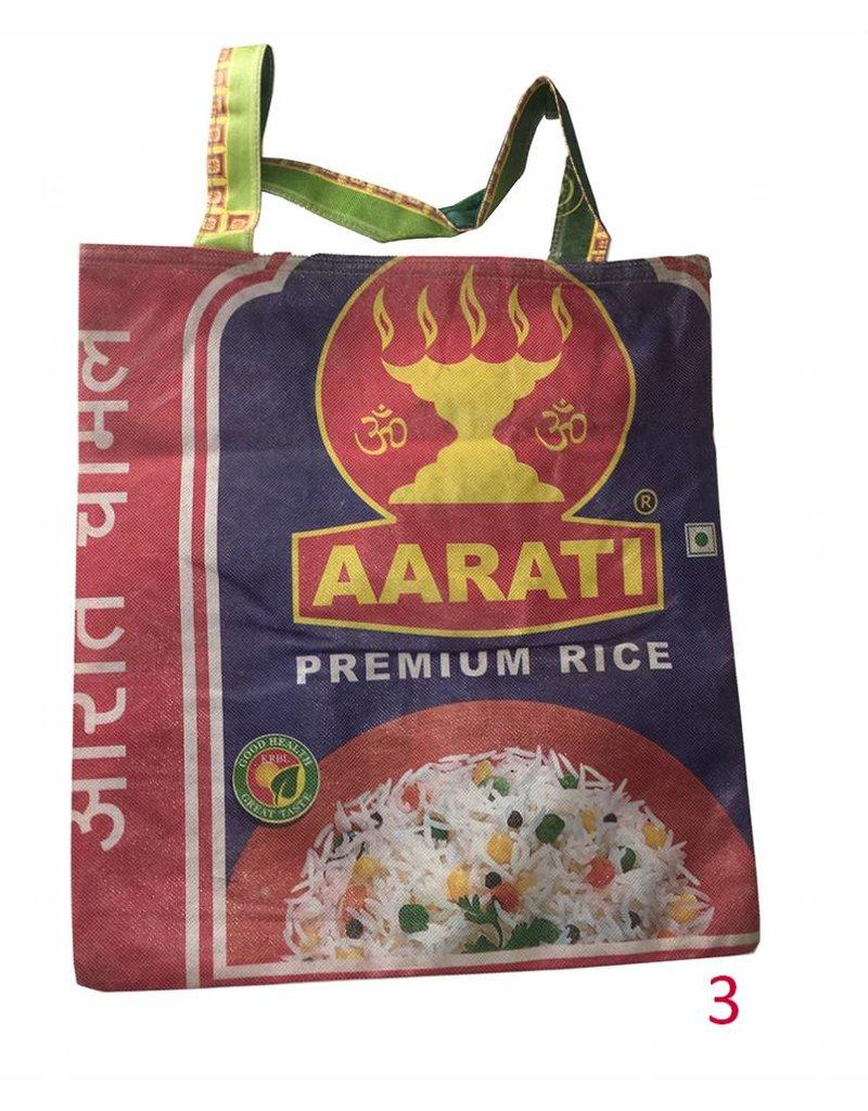 Mandisakura Tas- vangerecyclede textiel rijstzakken -omkeerbaar