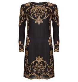 MadamChic Najila - Black and Gold beaded dress