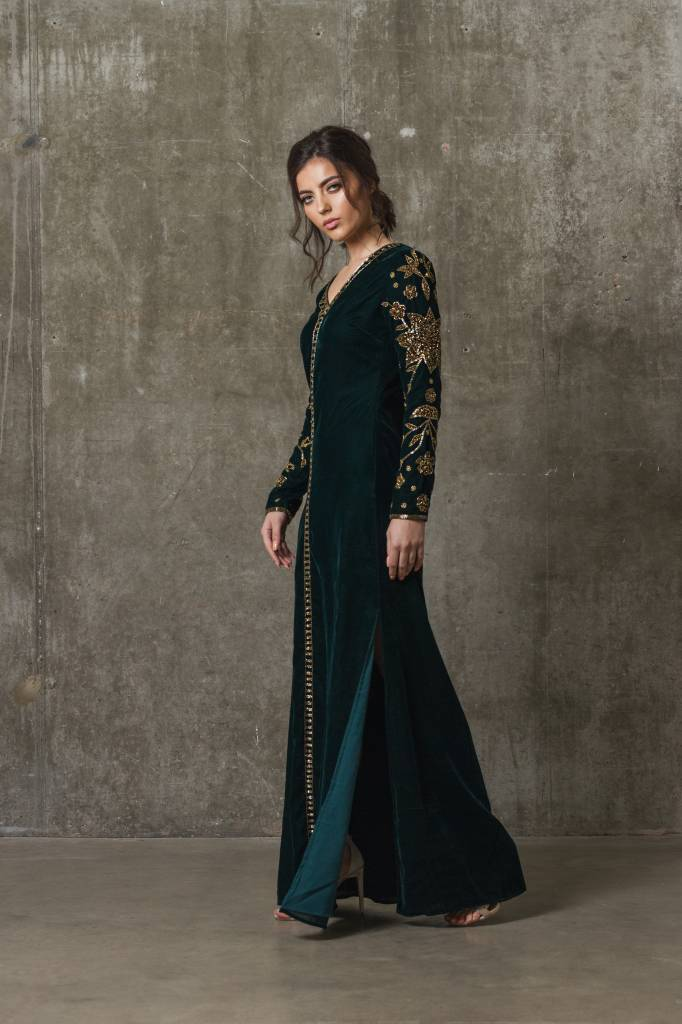 Luisa - Green Velvet Dress