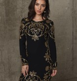 Najila - Black and Gold beaded dress