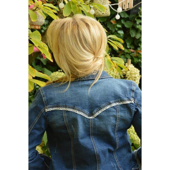 denim jacket with silver