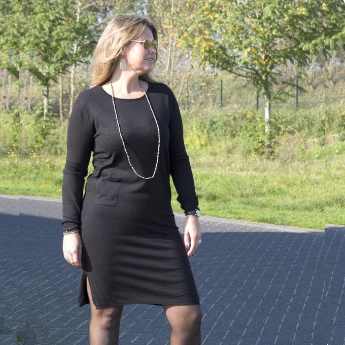 Gebreide jurk met zakjes