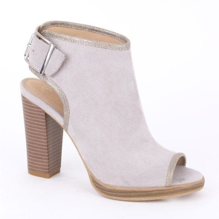 Pearl grey peep-toe schoenlaarsjes